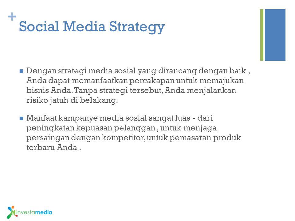 + Social Media Strategy Dengan strategi media sosial yang dirancang dengan baik, Anda dapat memanfaatkan percakapan untuk memajukan bisnis Anda. Tanpa