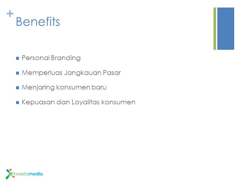 + Benefits Personal Branding Memperluas Jangkauan Pasar Menjaring konsumen baru Kepuasan dan Loyalitas konsumen
