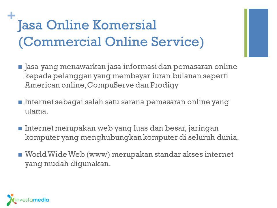 + Jasa Online Komersial (Commercial Online Service) Jasa yang menawarkan jasa informasi dan pemasaran online kepada pelanggan yang membayar iuran bula