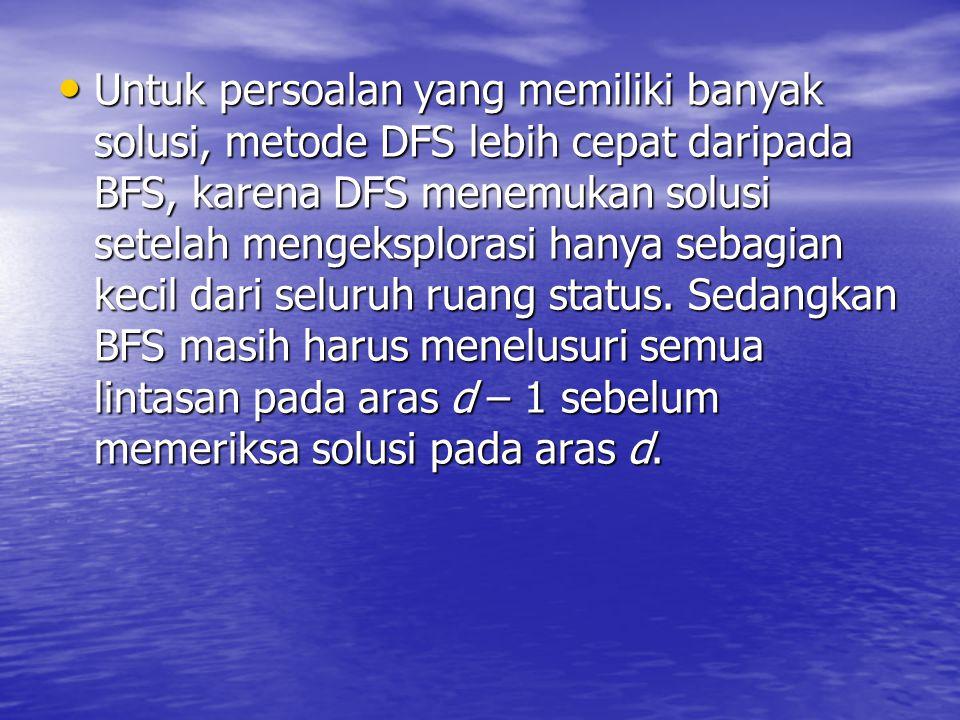 Untuk persoalan yang memiliki banyak solusi, metode DFS lebih cepat daripada BFS, karena DFS menemukan solusi setelah mengeksplorasi hanya sebagian kecil dari seluruh ruang status.