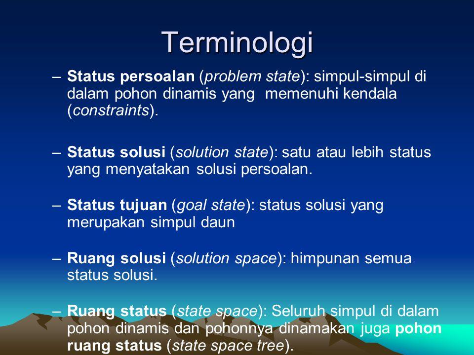 Terminologi –Status persoalan (problem state): simpul-simpul di dalam pohon dinamis yang memenuhi kendala (constraints). –Status solusi (solution stat