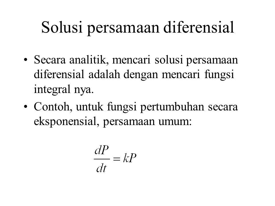 Solusi persamaan diferensial Secara analitik, mencari solusi persamaan diferensial adalah dengan mencari fungsi integral nya. Contoh, untuk fungsi per