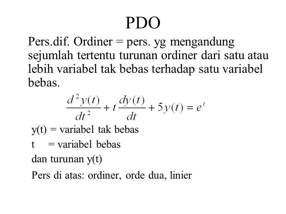PDO Pers.dif. Ordiner = pers. yg mengandung sejumlah tertentu turunan ordiner dari satu atau lebih variabel tak bebas terhadap satu variabel bebas. y(