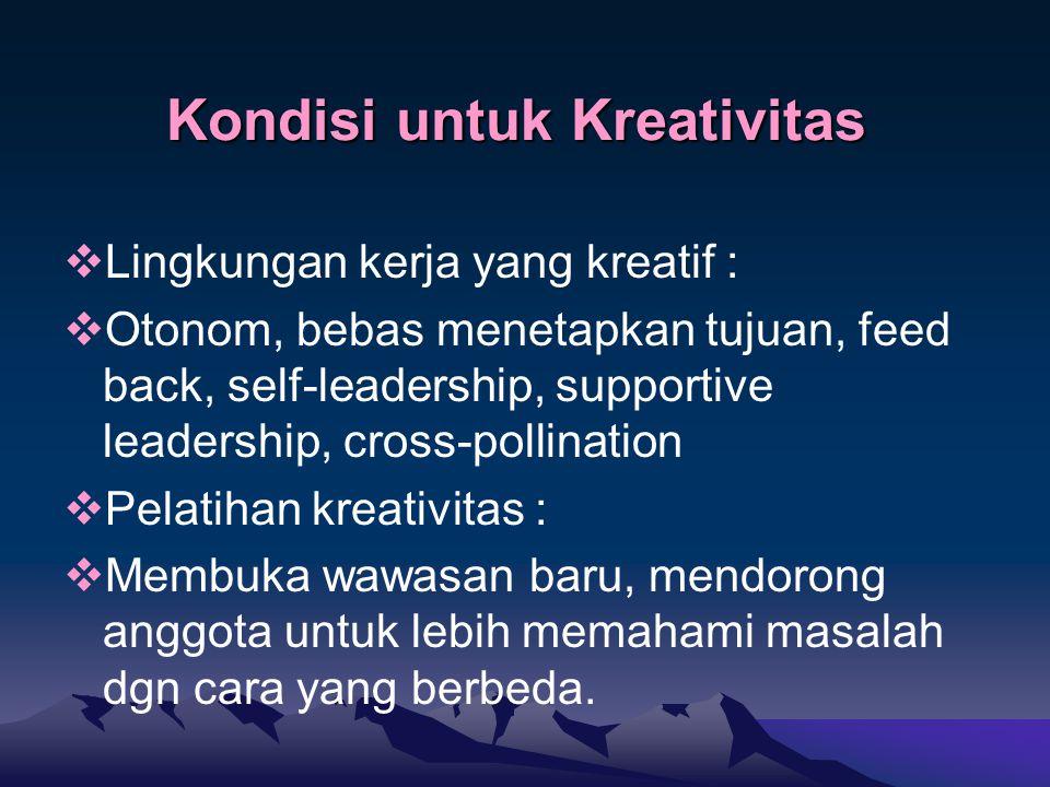 Kondisi untuk Kreativitas  Lingkungan kerja yang kreatif :  Otonom, bebas menetapkan tujuan, feed back, self-leadership, supportive leadership, cross-pollination  Pelatihan kreativitas :  Membuka wawasan baru, mendorong anggota untuk lebih memahami masalah dgn cara yang berbeda.