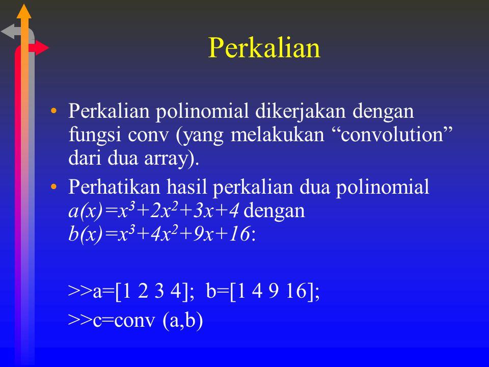 """Perkalian Perkalian polinomial dikerjakan dengan fungsi conv (yang melakukan """"convolution"""" dari dua array). Perhatikan hasil perkalian dua polinomial"""