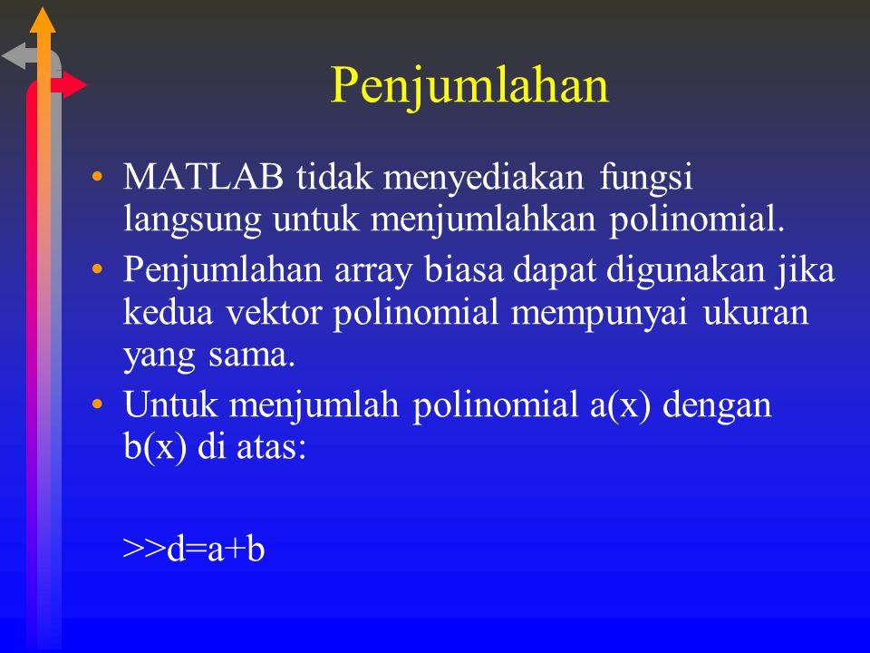 Penjumlahan MATLAB tidak menyediakan fungsi langsung untuk menjumlahkan polinomial. Penjumlahan array biasa dapat digunakan jika kedua vektor polinomi