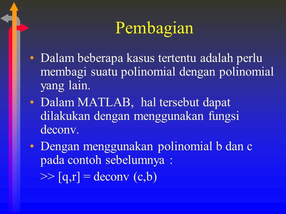 Pembagian Dalam beberapa kasus tertentu adalah perlu membagi suatu polinomial dengan polinomial yang lain. Dalam MATLAB, hal tersebut dapat dilakukan