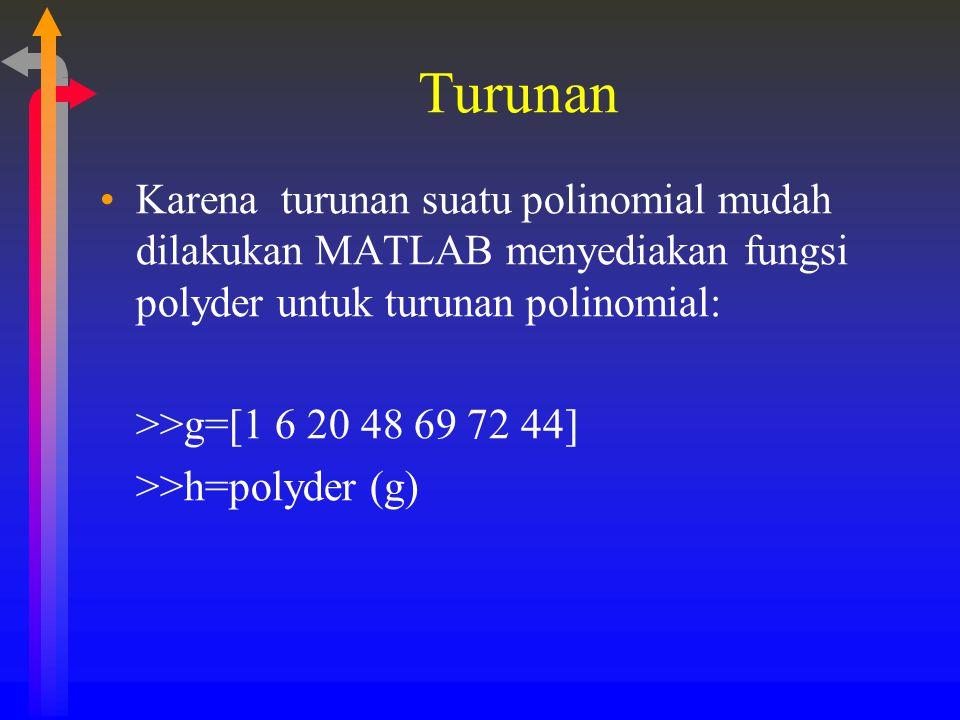 Turunan Karena turunan suatu polinomial mudah dilakukan MATLAB menyediakan fungsi polyder untuk turunan polinomial: >>g=[1 6 20 48 69 72 44] >>h=polyd