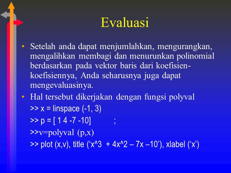 Evaluasi Setelah anda dapat menjumlahkan, mengurangkan, mengalihkan membagi dan menurunkan polinomial berdasarkan pada vektor baris dari koefisien- ko