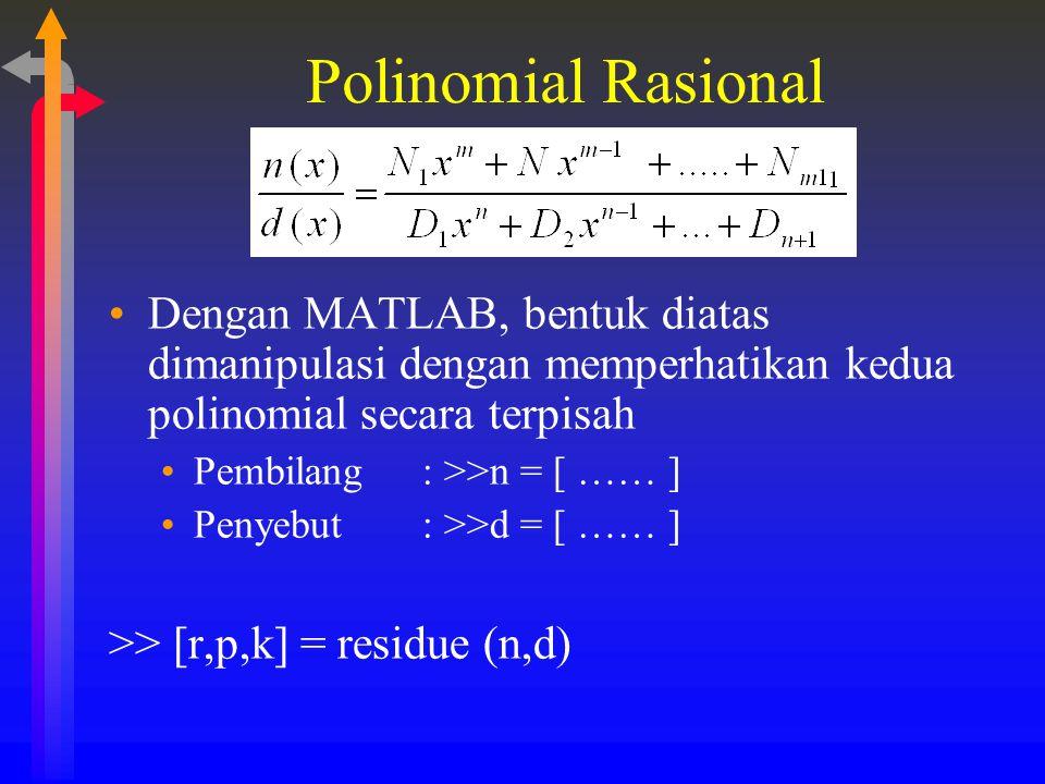 Polinomial Rasional Dengan MATLAB, bentuk diatas dimanipulasi dengan memperhatikan kedua polinomial secara terpisah Pembilang: >>n = [ …… ] Penyebut :