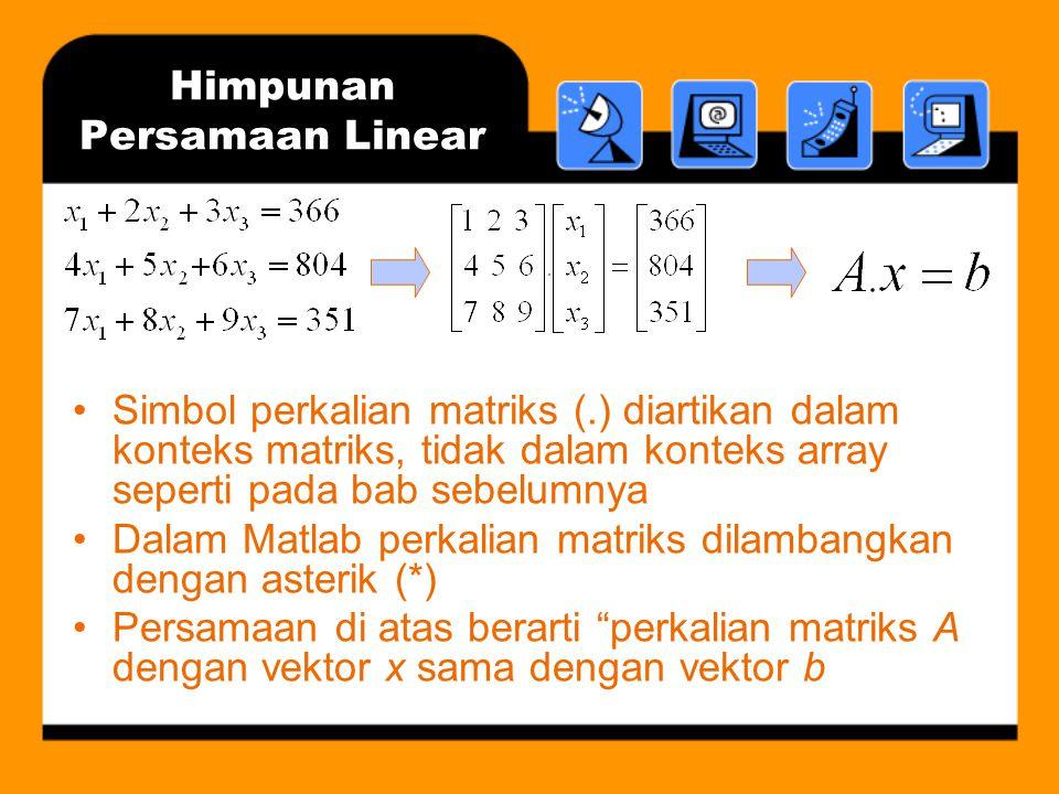 Himpunan Persamaan Linear Masalah mendasar dalam aljabar linear: ada atau tidaknya solusi Jika ada solusi, terdapat berbagai metode penyelesaian: –Eliminasi Gauss –Faktorisasi LU –Penggunaan langsung A -1 (matriks invers)