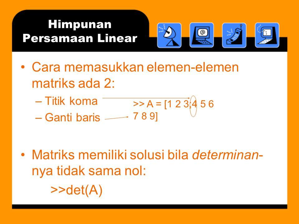 Himpunan Persamaan Linear Dua cara penyelesaian: –Lebih disukai: x=A\b –Kurang diminati tapi langsung menuju sasaran: x=inv(A)*b Metode 1 menggunakan pendekatan faktorisasi LU dan melambangkan solusi sebagai pembagian kiri A ke b Lebih disukai karena: –Memerlukan sedikit perkalian dan pembagian, sehingga lebih cepat –Solusinya lebih akurat untuk masalah yang besar