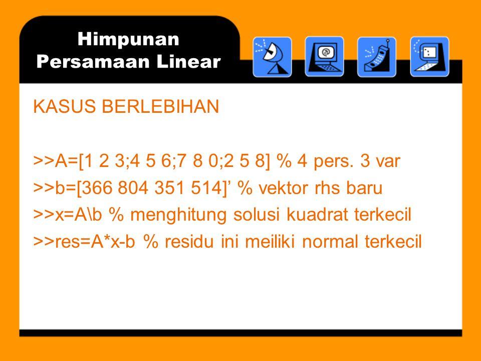 Himpunan Persamaan Linear KASUS BERLEBIHAN >>A=[1 2 3;4 5 6;7 8 0;2 5 8] % 4 pers. 3 var >>b=[366 804 351 514]' % vektor rhs baru >>x=A\b % menghitung