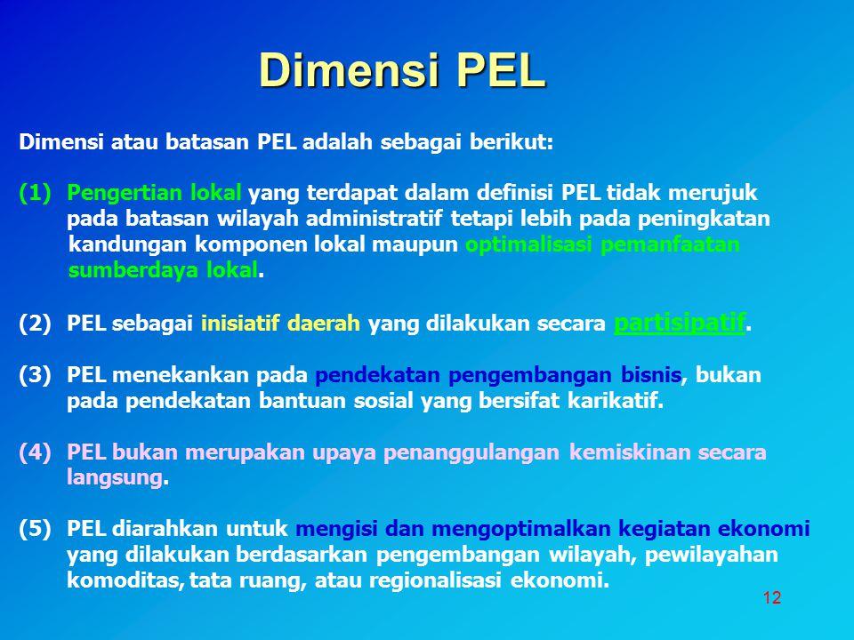 12 Dimensi PEL Dimensi atau batasan PEL adalah sebagai berikut: (1)Pengertian lokal yang terdapat dalam definisi PEL tidak merujuk pada batasan wilaya