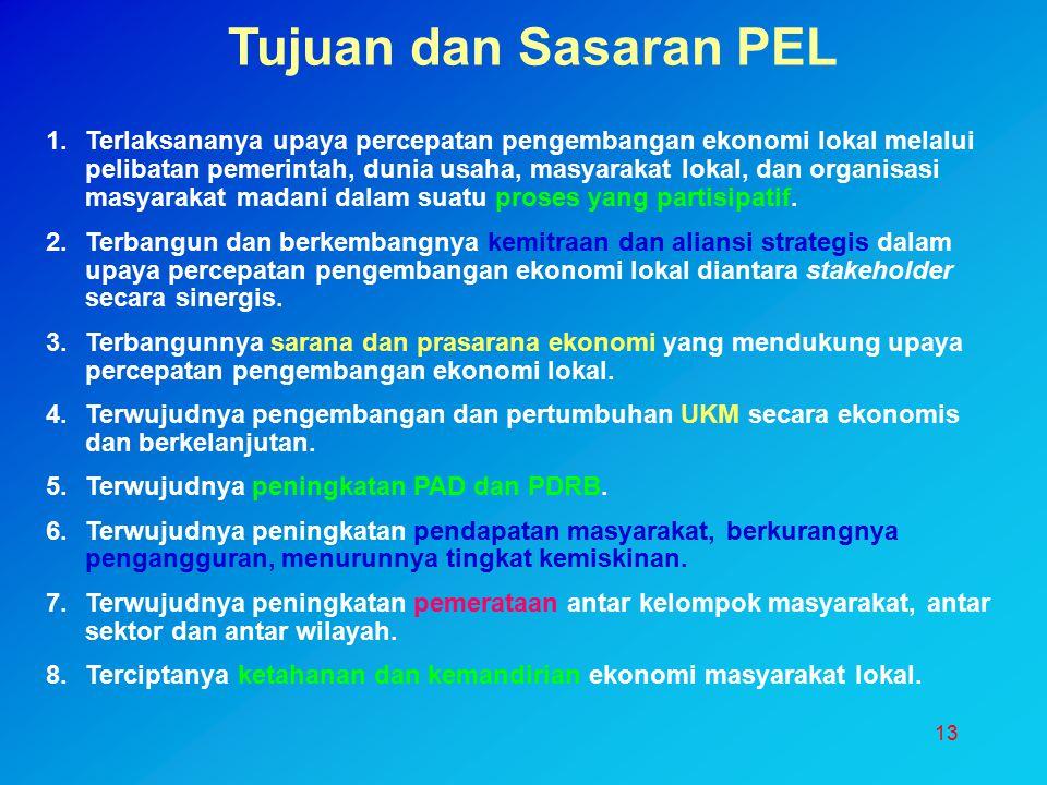 13 Tujuan dan Sasaran PEL 1.Terlaksananya upaya percepatan pengembangan ekonomi lokal melalui pelibatan pemerintah, dunia usaha, masyarakat lokal, dan