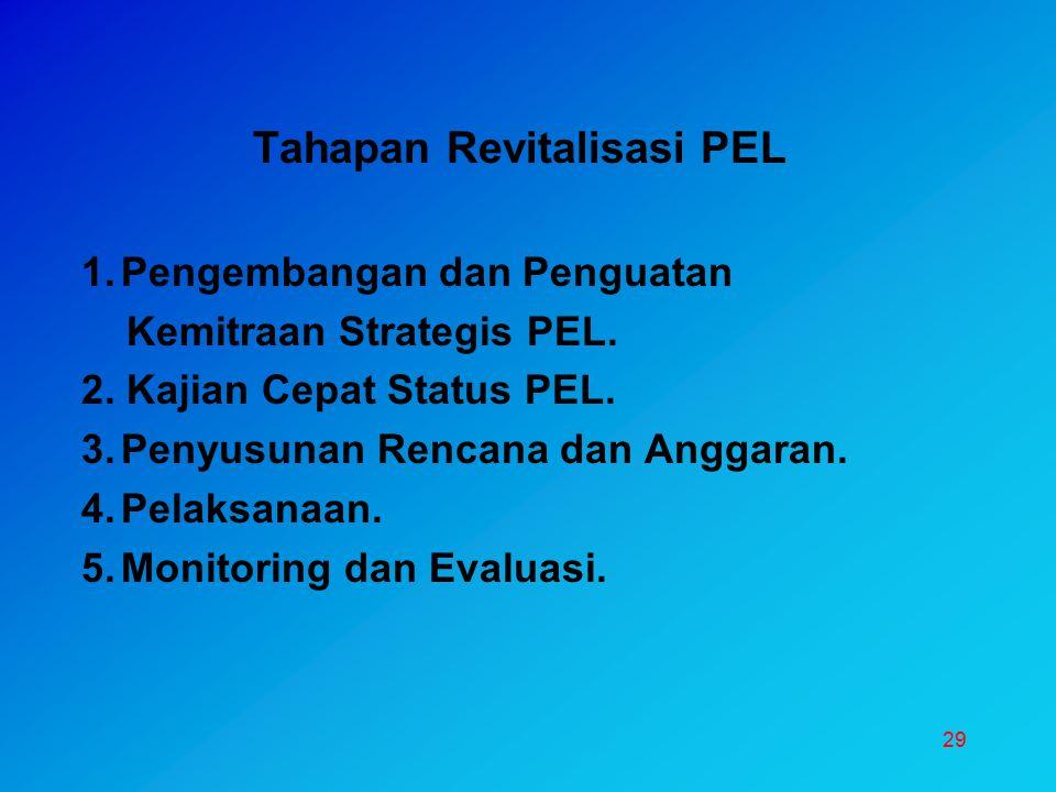 29 Tahapan Revitalisasi PEL 1.Pengembangan dan Penguatan Kemitraan Strategis PEL. 2. Kajian Cepat Status PEL. 3.Penyusunan Rencana dan Anggaran. 4.Pel