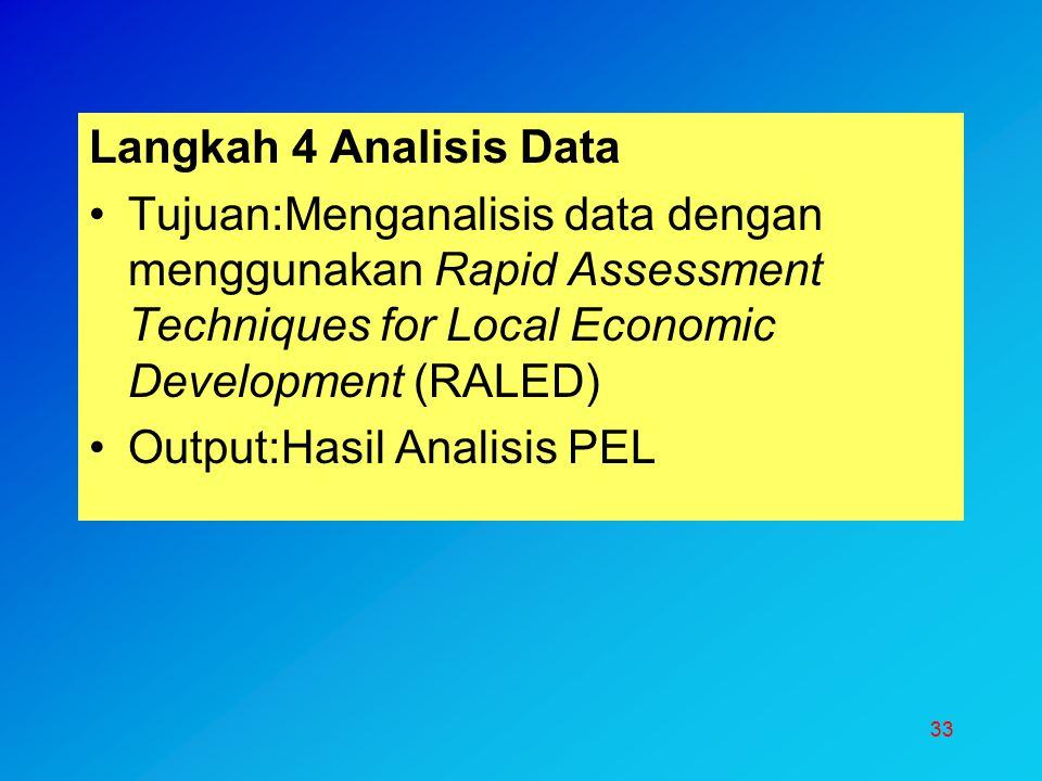33 Langkah 4 Analisis Data Tujuan:Menganalisis data dengan menggunakan Rapid Assessment Techniques for Local Economic Development (RALED) Output:Hasil