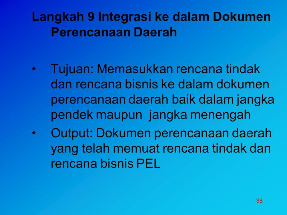 38 Langkah 9 Integrasi ke dalam Dokumen Perencanaan Daerah Tujuan: Memasukkan rencana tindak dan rencana bisnis ke dalam dokumen perencanaan daerah ba