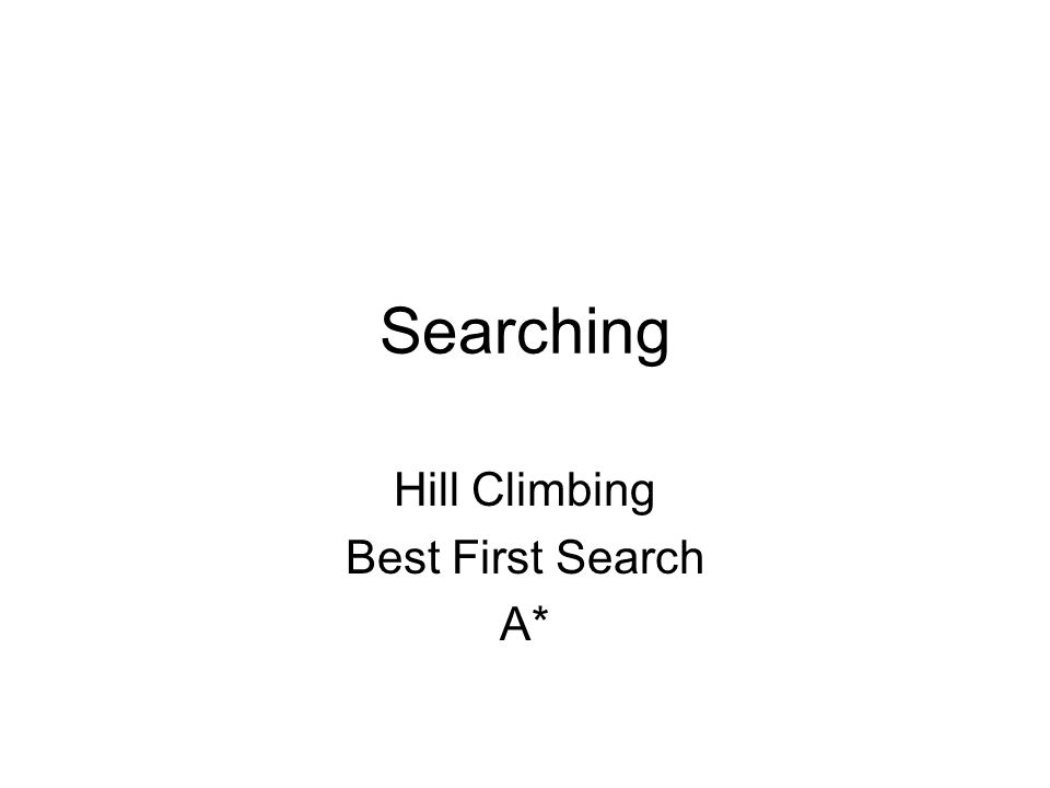 Searching Hill Climbing Best First Search A*