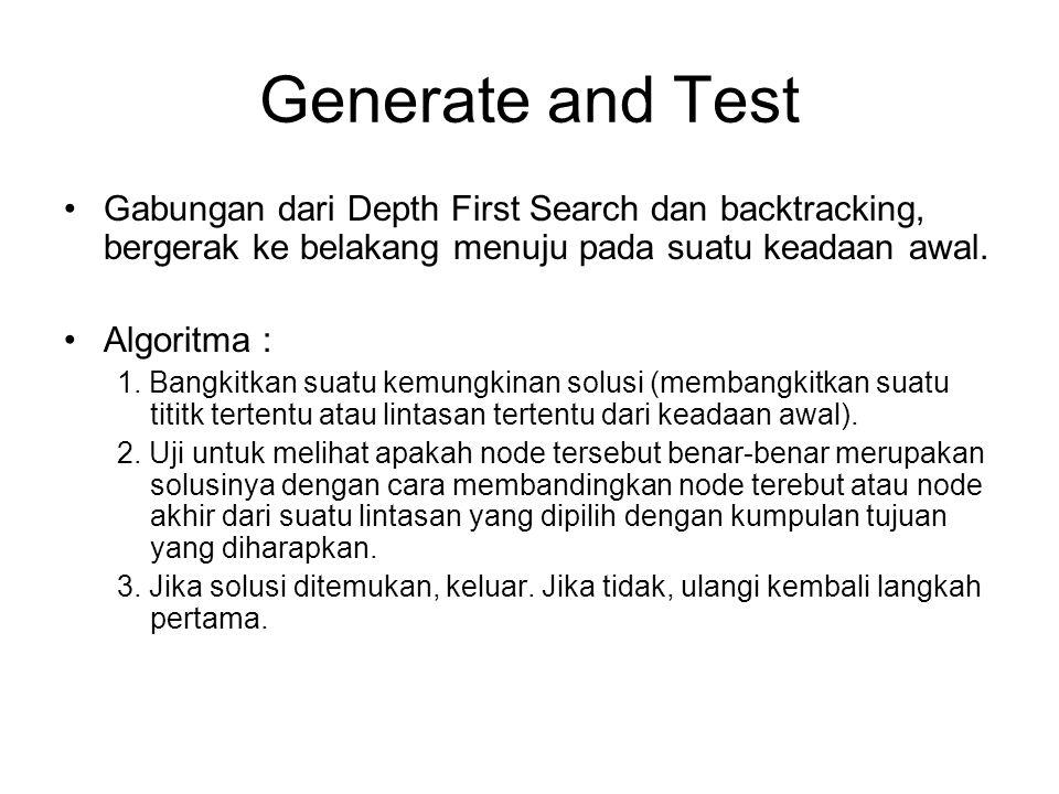 Generate and Test Gabungan dari Depth First Search dan backtracking, bergerak ke belakang menuju pada suatu keadaan awal. Algoritma : 1. Bangkitkan su