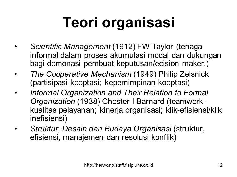 http://herwanp.staff.fisip.uns.ac.id12 Teori organisasi Scientific Management (1912) FW Taylor (tenaga informal dalam proses akumulasi modal dan dukun