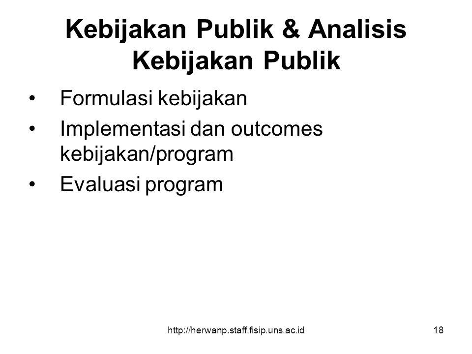 http://herwanp.staff.fisip.uns.ac.id18 Kebijakan Publik & Analisis Kebijakan Publik Formulasi kebijakan Implementasi dan outcomes kebijakan/program Ev