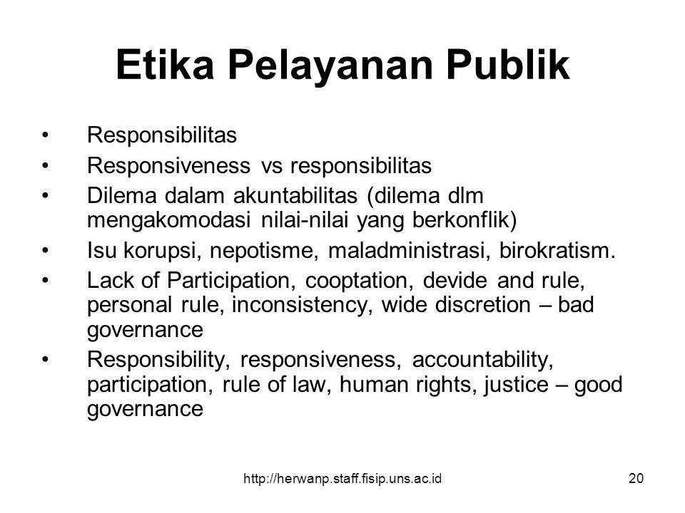 http://herwanp.staff.fisip.uns.ac.id20 Etika Pelayanan Publik Responsibilitas Responsiveness vs responsibilitas Dilema dalam akuntabilitas (dilema dlm