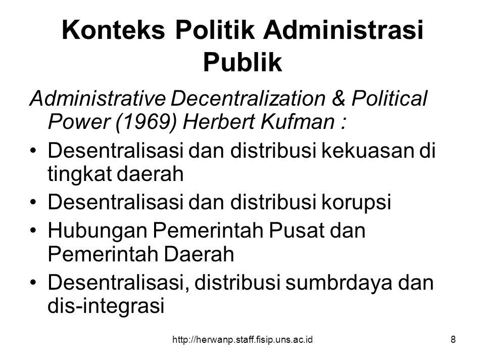 http://herwanp.staff.fisip.uns.ac.id8 Konteks Politik Administrasi Publik Administrative Decentralization & Political Power (1969) Herbert Kufman : De