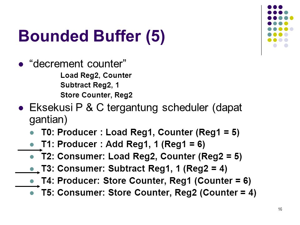 "16 Bounded Buffer (5) ""decrement counter"" Load Reg2, Counter Subtract Reg2, 1 Store Counter, Reg2 Eksekusi P & C tergantung scheduler (dapat gantian)"