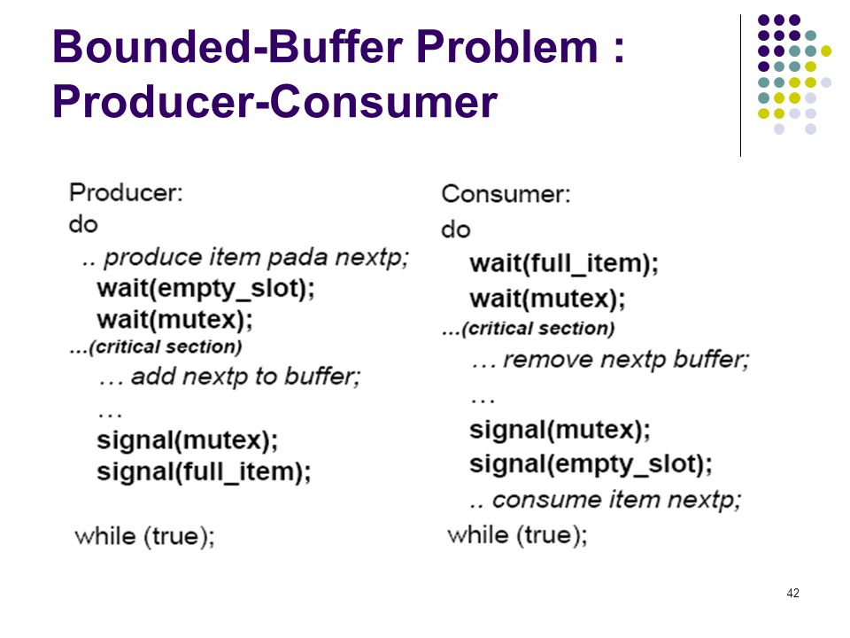 42 Bounded-Buffer Problem : Producer-Consumer