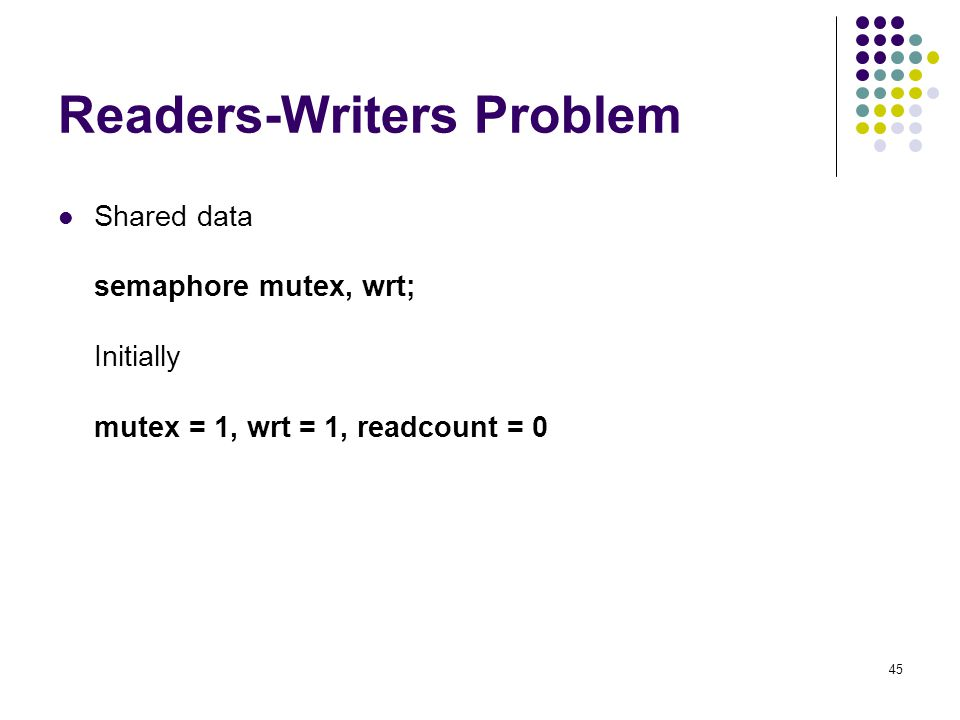 45 Readers-Writers Problem Shared data semaphore mutex, wrt; Initially mutex = 1, wrt = 1, readcount = 0