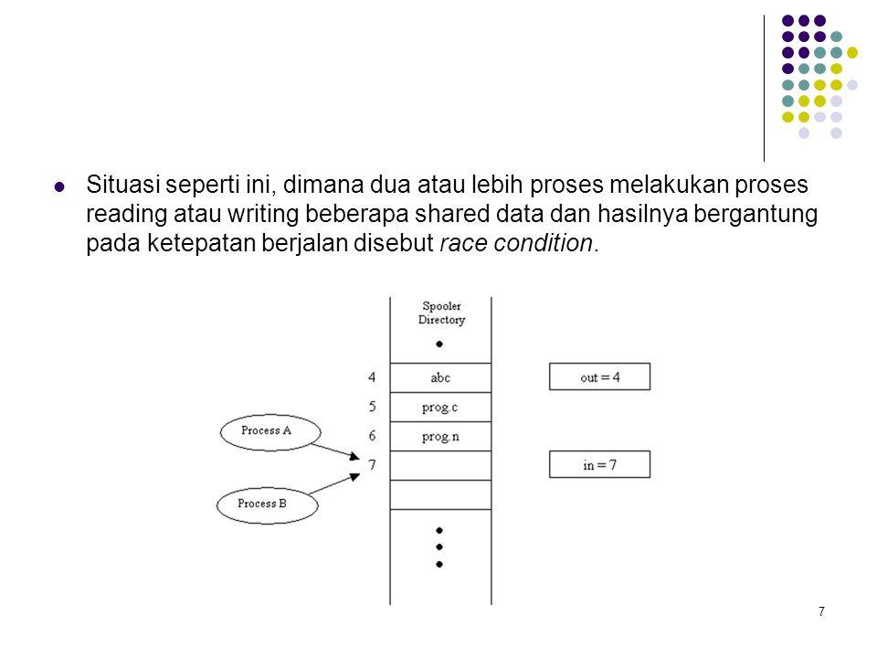 18 Sinkronisasi Sinkronisasi: Koordinasi akses ke shared data, misalkan hanya satu proses yang dapat menggunakah shared var.