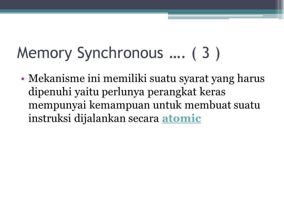 Memory Synchronous …. ( 3 ) Mekanisme ini memiliki suatu syarat yang harus dipenuhi yaitu perlunya perangkat keras mempunyai kemampuan untuk membuat s