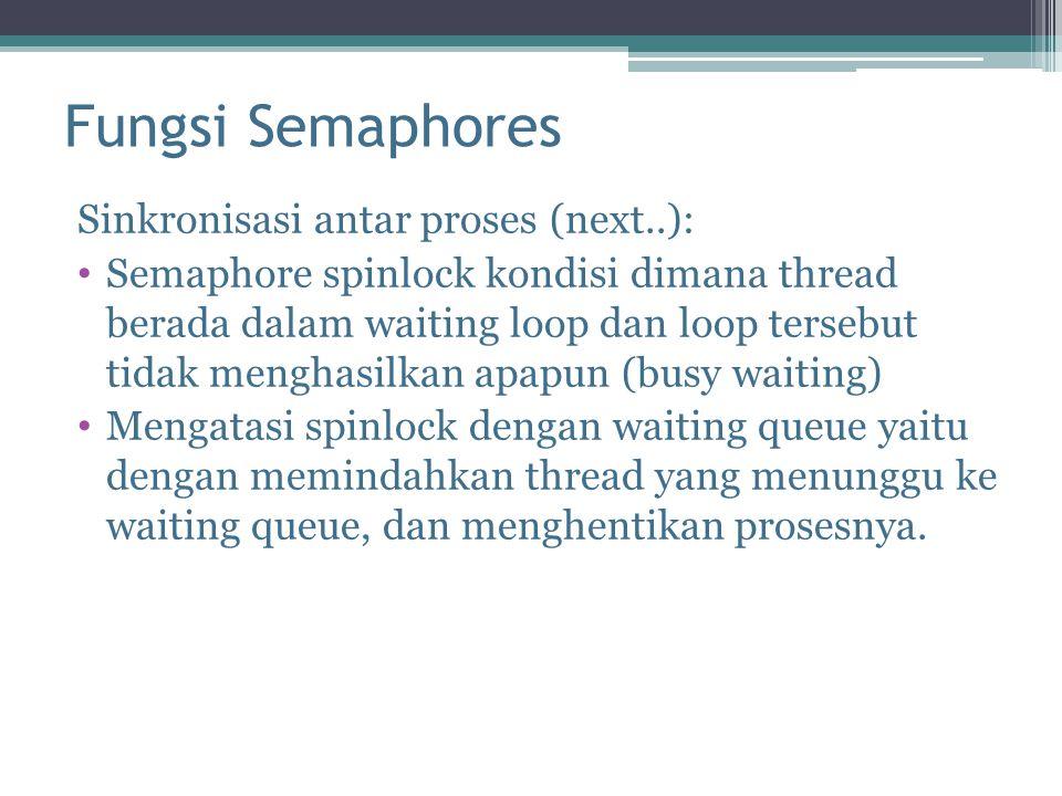 Fungsi Semaphores Sinkronisasi antar proses (next..): Semaphore spinlock kondisi dimana thread berada dalam waiting loop dan loop tersebut tidak mengh