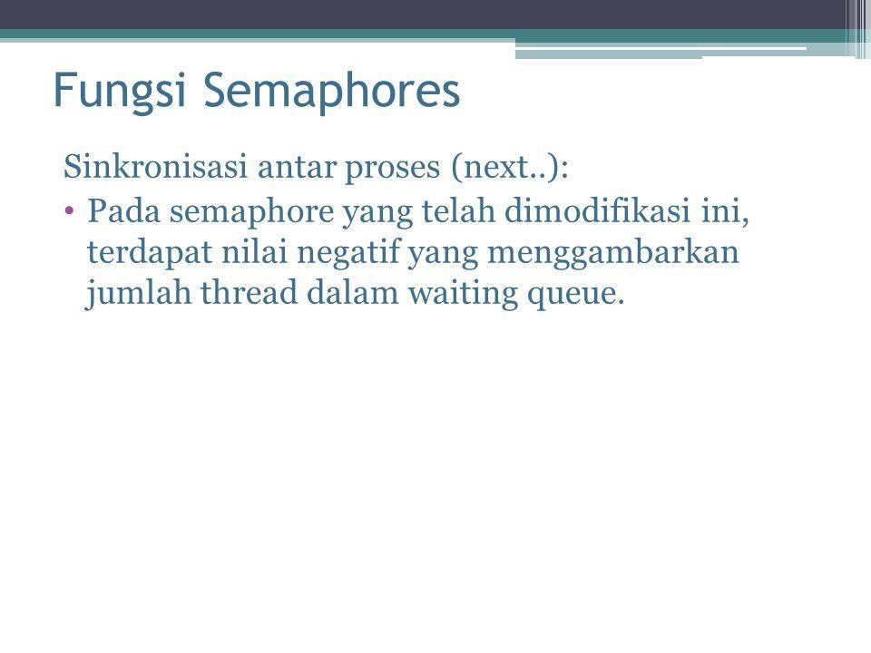Fungsi Semaphores Sinkronisasi antar proses (next..): Pada semaphore yang telah dimodifikasi ini, terdapat nilai negatif yang menggambarkan jumlah thread dalam waiting queue.