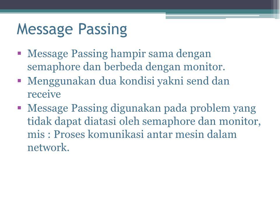 Message Passing  Message Passing hampir sama dengan semaphore dan berbeda dengan monitor.  Menggunakan dua kondisi yakni send dan receive  Message