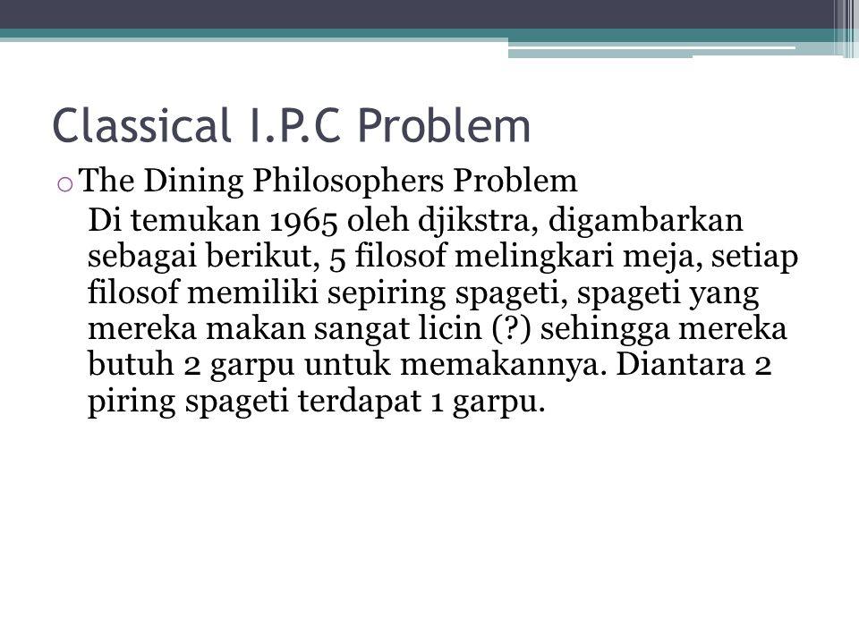 Classical I.P.C Problem o The Dining Philosophers Problem Di temukan 1965 oleh djikstra, digambarkan sebagai berikut, 5 filosof melingkari meja, setia
