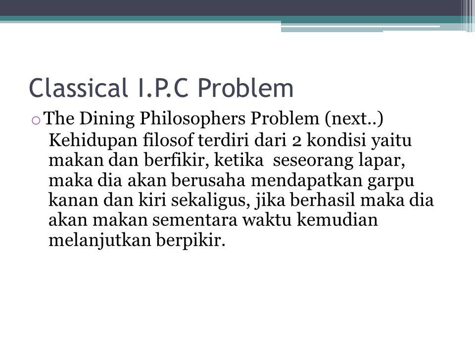 Classical I.P.C Problem o The Dining Philosophers Problem (next..) Kehidupan filosof terdiri dari 2 kondisi yaitu makan dan berfikir, ketika seseorang lapar, maka dia akan berusaha mendapatkan garpu kanan dan kiri sekaligus, jika berhasil maka dia akan makan sementara waktu kemudian melanjutkan berpikir.