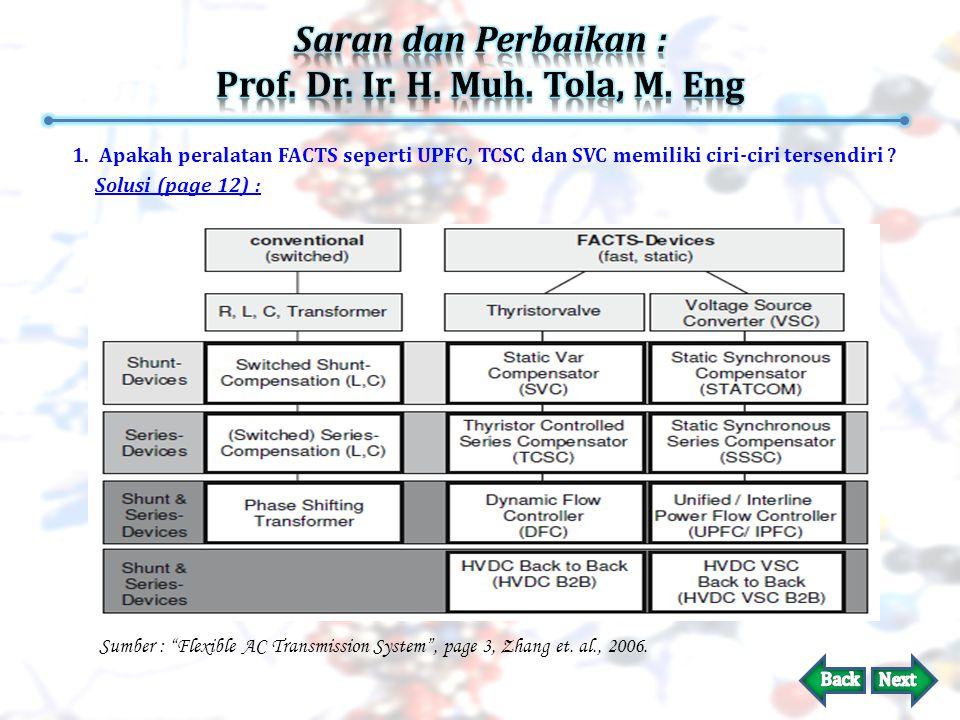 1.Apakah peralatan FACTS seperti UPFC, TCSC dan SVC memiliki ciri-ciri tersendiri .