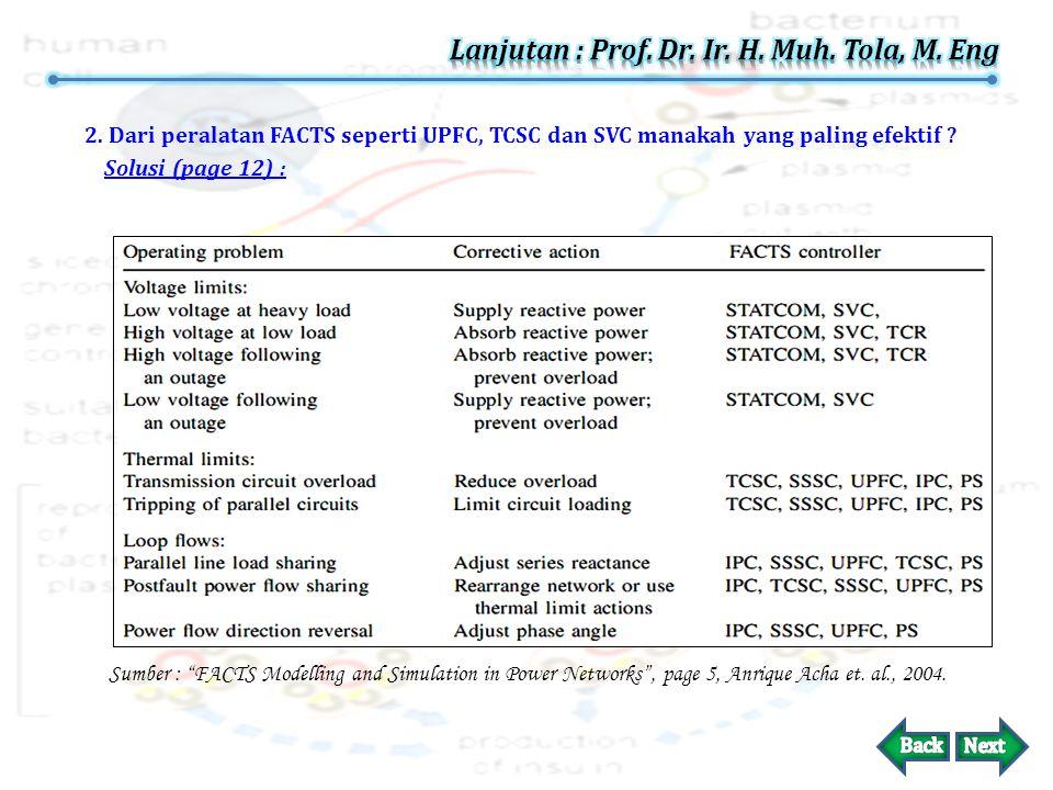 """1. Apakah peralatan FACTS seperti UPFC, TCSC dan SVC memiliki ciri-ciri tersendiri ? Solusi (page 12) : Sumber : """"Flexible AC Transmission System"""", pa"""