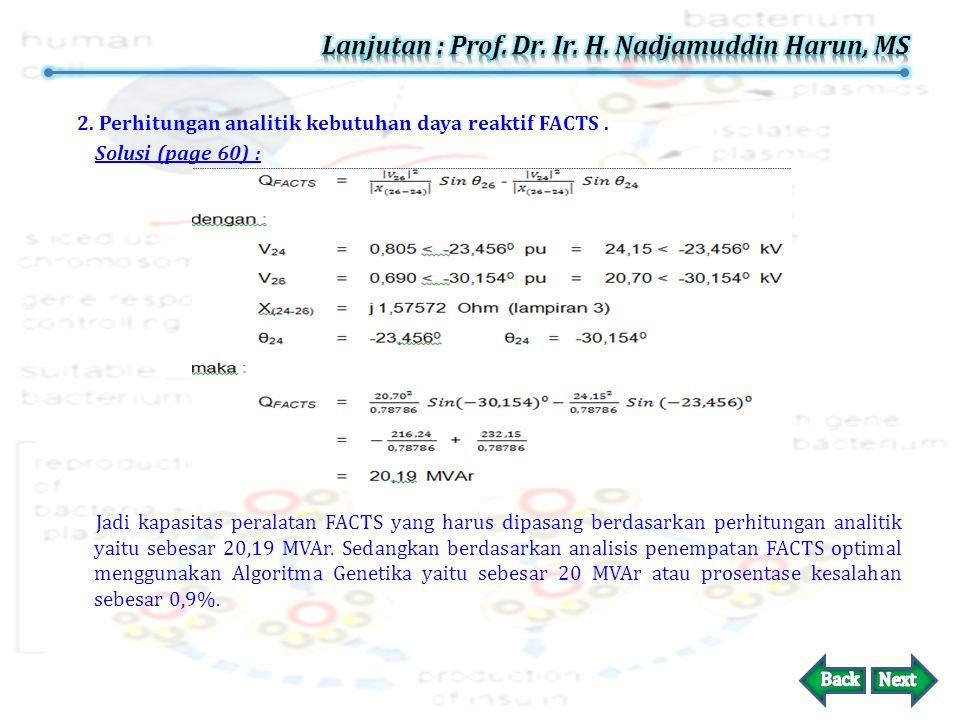 2.Perhitungan analitik kebutuhan daya reaktif FACTS.