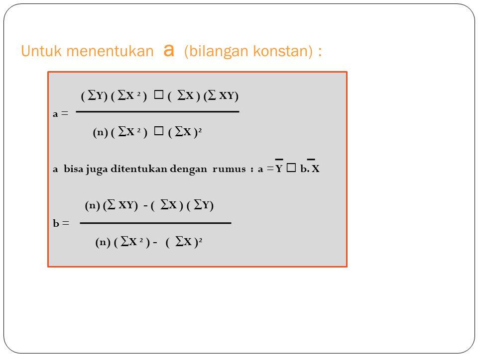 Untuk menentukan a (bilangan konstan) : ( ∑Y) ( ∑X ² )  ( ∑X ) (∑ XY) a = (n) ( ∑X ² )  ( ∑X )² a bisa juga ditentukan dengan rumus : a = Y  b. X (