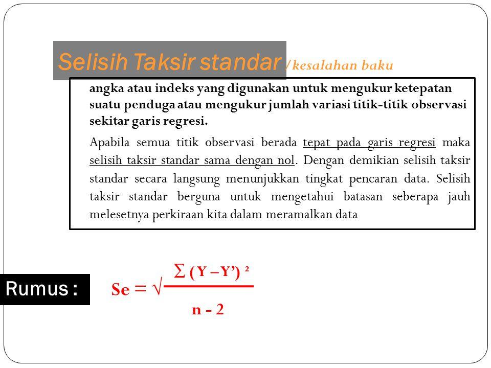 Selisih Taksir standar angka atau indeks yang digunakan untuk mengukur ketepatan suatu penduga atau mengukur jumlah variasi titik-titik observasi seki