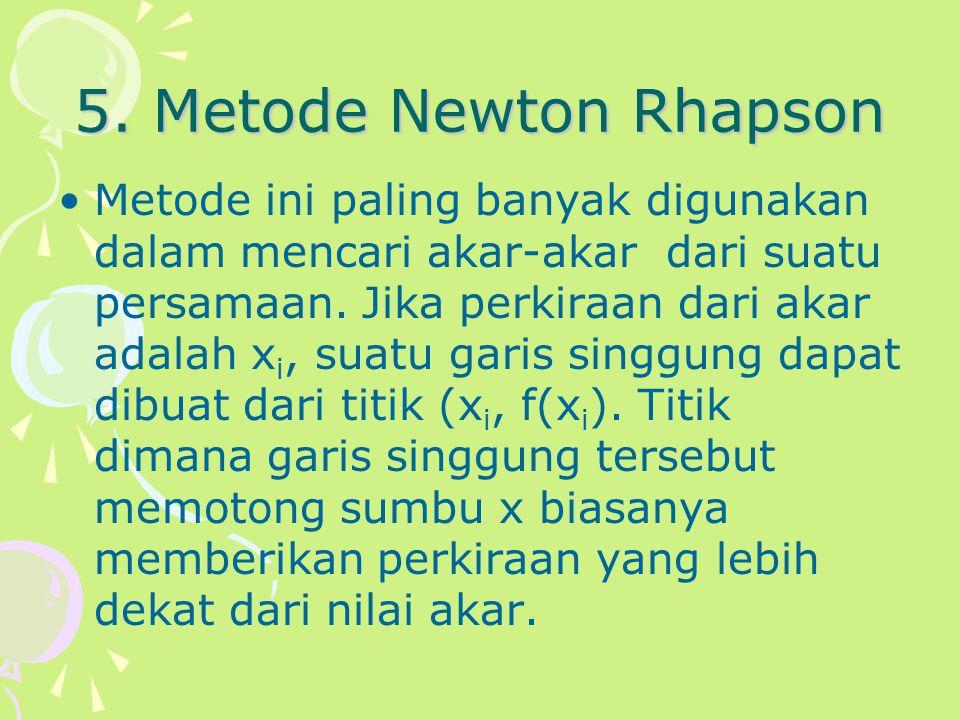 5. Metode Newton Rhapson Metode ini paling banyak digunakan dalam mencari akar-akar dari suatu persamaan. Jika perkiraan dari akar adalah x i, suatu g