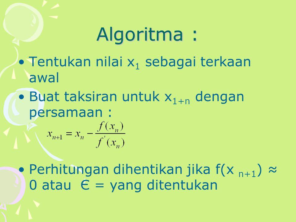 Algoritma : Tentukan nilai x 1 sebagai terkaan awal Buat taksiran untuk x 1+n dengan persamaan : Perhitungan dihentikan jika f(x n+1 ) ≈ 0 atau Є = ya