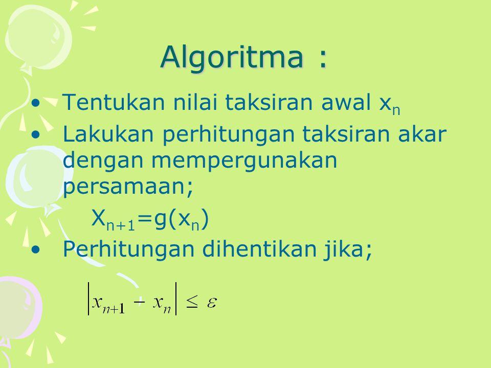 Algoritma : Tentukan nilai taksiran awal x n Lakukan perhitungan taksiran akar dengan mempergunakan persamaan; X n+1 =g(x n ) Perhitungan dihentikan j