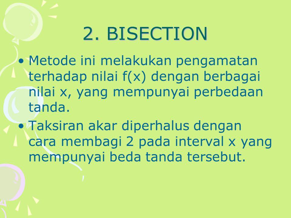 2. BISECTION Metode ini melakukan pengamatan terhadap nilai f(x) dengan berbagai nilai x, yang mempunyai perbedaan tanda. Taksiran akar diperhalus den
