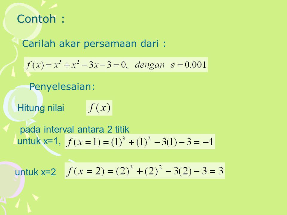 Fungsi diatas adalah kontinyu, berarti perubahan tanda dari fungsi antara x=1 dan x=2 akan memotong sumbu x paling tidak satu kali.