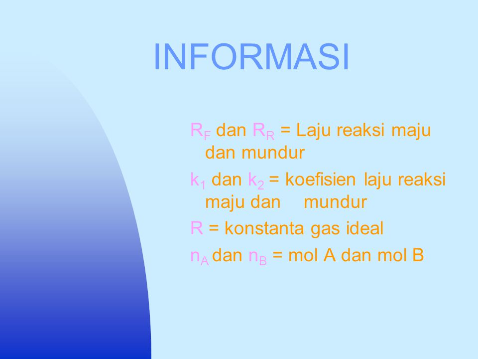 CONTOH SOAL Reaksi: 2NO 2 N 2 O 4 Data : C V = 0.85 k 1 = 0.65 k 2 = 0.75 R= 0.08205 mol L atm/gr-mol K M A = 0.046 gr/mol M B = 0.092 gr/mol T= 340 K V= 50 L P D = 1 atm  o = 0.01 kg/L F 0 = 20 C A0 = 1 M Tak diketahui: C A, , P, F, dan y