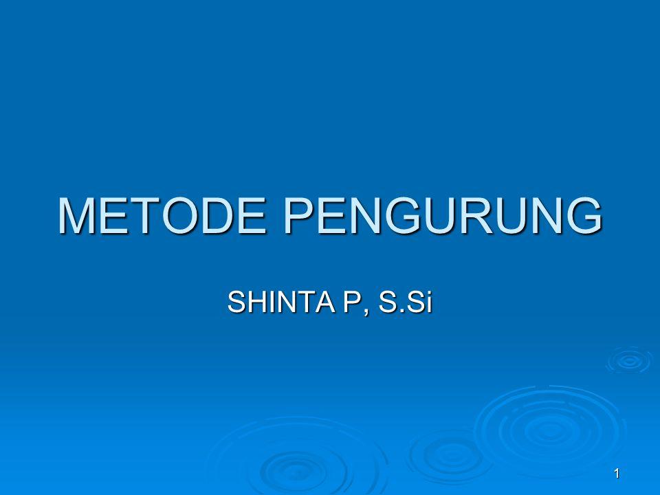 1 METODE PENGURUNG SHINTA P, S.Si